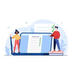 Male and female characters planning to do list vector