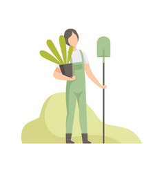 Man holding pot with plant and shovel people vector