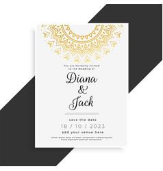 mandala style vintage wedding template vector image