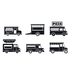 Market food truck icon set simple style vector