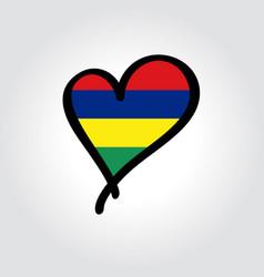 mauritius flag heart-shaped hand drawn logo vector image