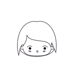 monochrome silhouette of facial expression kawaii vector image