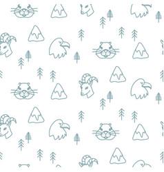 Mountain winter animals scandinavian simple vector
