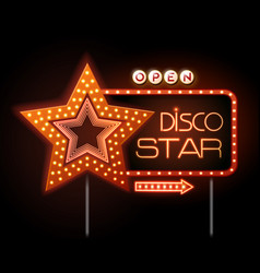 Neon sign of disco star and neon text disco star vector