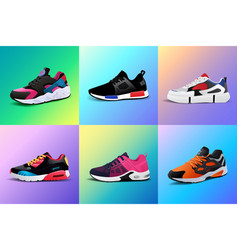 New fitness sneakers set fashion shoes vector