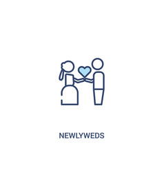 Newlyweds concept 2 colored icon simple line vector