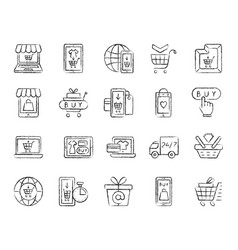 online shop charcoal draw line icons set vector image