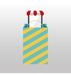 Online shopping big bag present design vector