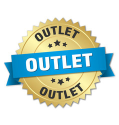 Outlet round isolated gold badge vector