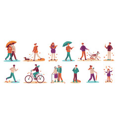 people in autumn couple with umbrella in rain vector image