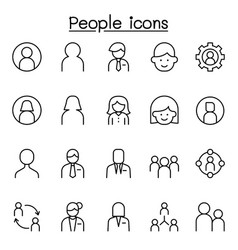 People user relation avatar icons set in thin vector