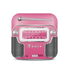 Pink retro radio icon vector