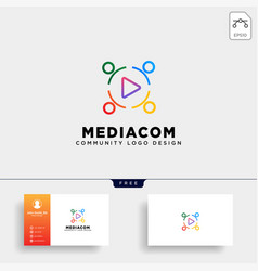 Play button community logo template icon element vector