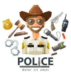 Police law icons set of elements - gavel vector