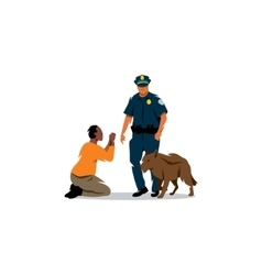 Policeman with a dog and black offender vector