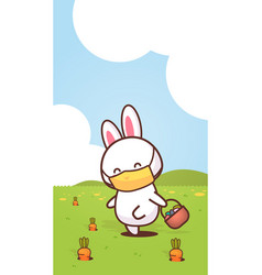 rabbit holding basket with eggs wearing face mask vector image