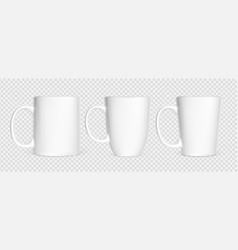 realistic white cups isolated on white transparent vector image