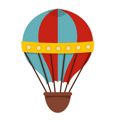 Red and blue hot air striped balloon icon isolated vector