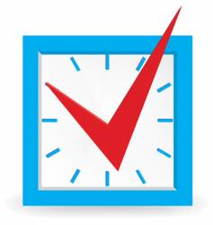 red check mark on clock vector image