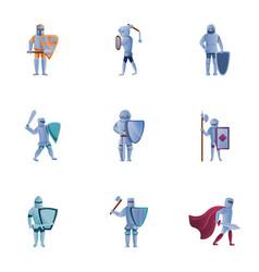 Royal knights icon set cartoon style vector