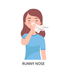 Runny nose girl suffering from symptom viral vector