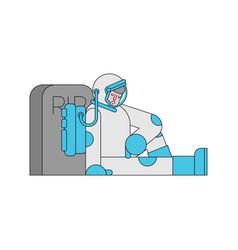 Sad astronaut is sitting grave spaceman vector
