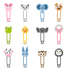 Safety pin collection with colorful animal heads vector