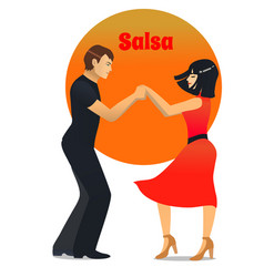 Salsa dancing couple in cartoon style vector