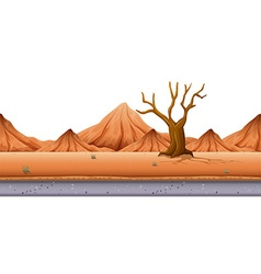Seamless background with tree and hills vector