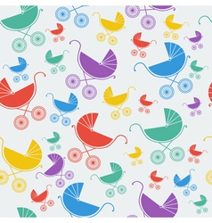 Seamless pattern of baby strollers vector image