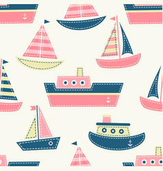 seamless pattern with boats vector image