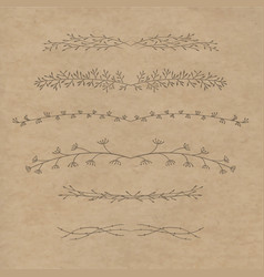 set of decorative doodle branches vector image