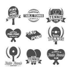 Set of ping pong emblems labels badges vector