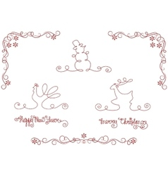 set of silhouette christmas and new year symbols vector image