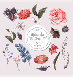 set watercolor floral design elements roses vector image