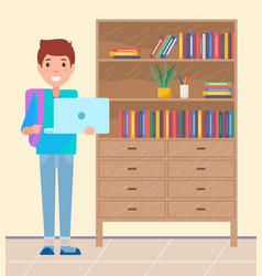 student with laptop and backpack smiling pupil vector image