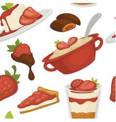 sweets and cakes pasty foot baked meal with vector image
