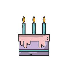 Tasty cake with candle to party celebration vector
