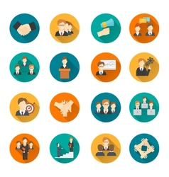 Teamwork flat buttons vector image