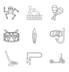 Teenage boy icons set outline style vector
