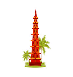 tran quoc pagoda in hanoi famous architecture vector image