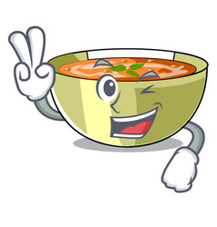 Two finger cartoon lentil soup ready to served vector