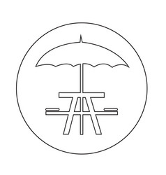 Umbrella with picnic table icon vector