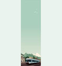 Vertical landscape with train at european village vector