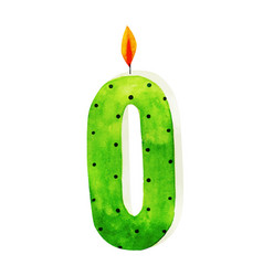Watercolor happy birthday letter o candle vector