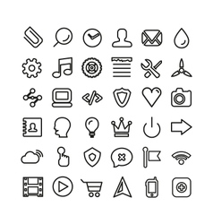 Web line icon set Thin icons isolated on white vector