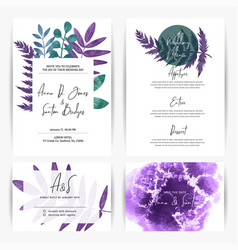wedding kit templates 4cards designs with florals vector image