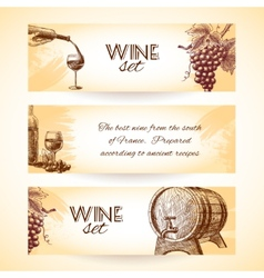 Wine sketch banners vector