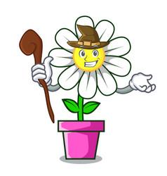 witch daisy flower mascot cartoon vector image