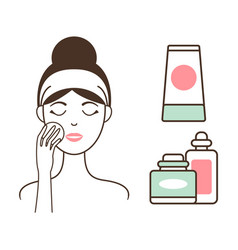 Woman cleans face skin with lotions and tonics vector